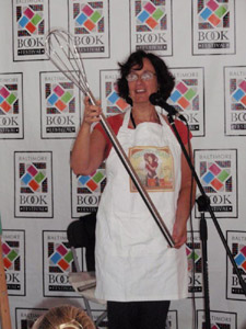 Susanna with a Julia-Child-size whisk