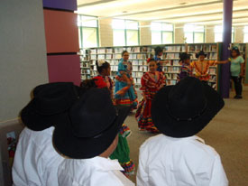 Author talks and performances took place all day in the San Marcos library.