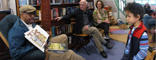 With E.B. Lewis, Gary Golio and a young fan at Big Blue Marble Bookstore in Philly.