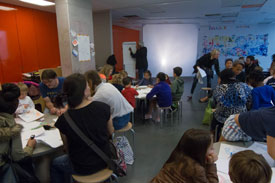 After the reading, Ra�l led a workshop in the art room